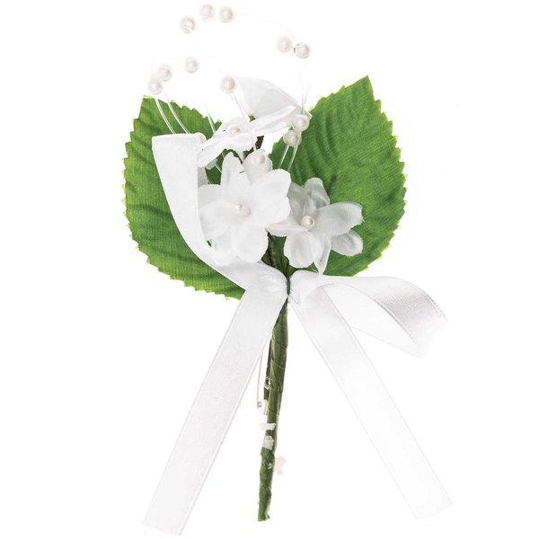 Blütenanstecker mit Schleife weiß-grün 11x7cm
