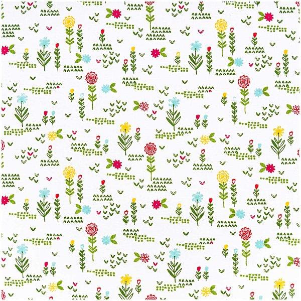 Rico Design Stoff Blumenwiese weiß 50x140cm