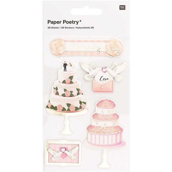 Paper Poetry 3D-Sticker Hochzeitstag 5 Stück