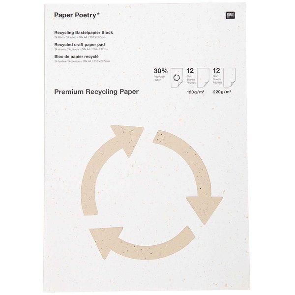 Paper Poetry Premium Bastelblock Recyclingpapier A4 24 Blatt