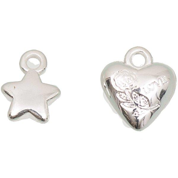 Jewellery Made by Me Perle Sterne und Herzen silber 11x10mm 15 Stück