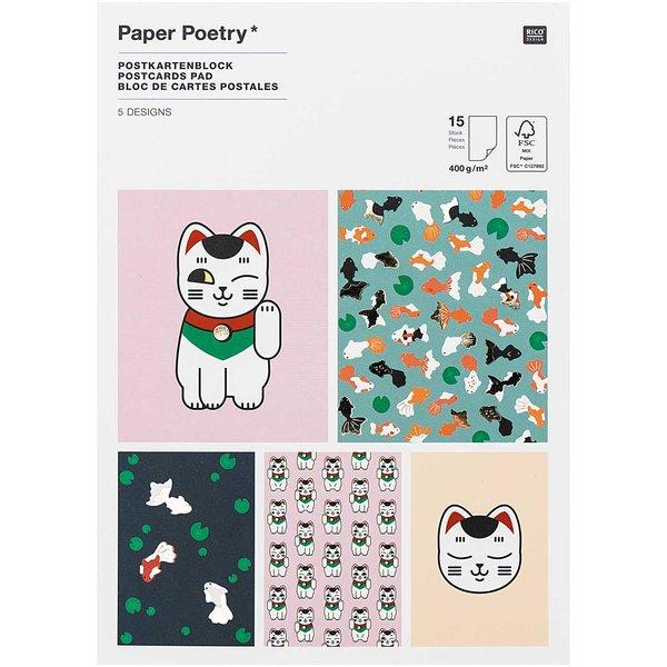 Paper Poetry Postkartenblock Jardin Japonais 12,5x17,6cm