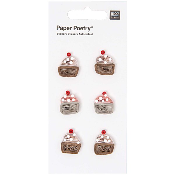 Paper Poetry Quilling Sticker Cupcakes