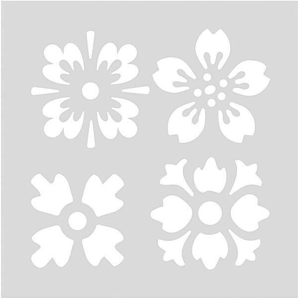 Rico Design Schablone Blumen 7,5x7,5cm selbstklebend