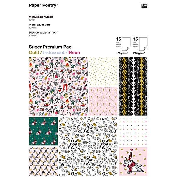 Paper Poetry Motivpapier Block Magical Christmas 21x29,5cm 30 Blatt