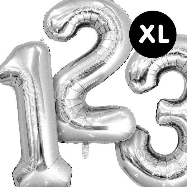 YEY! Let's Party Folienballon Zahl silber 86cm