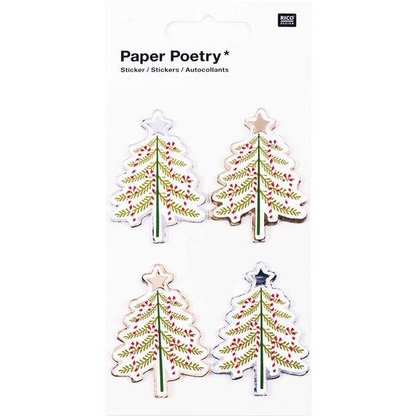 Paper Poetry 3D Sticker Tannenbäume Hot Foil