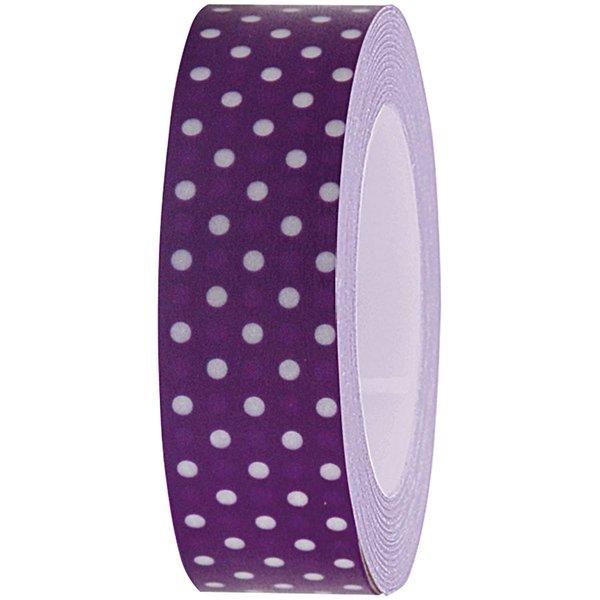 Rico Design Tape violett-weiße Punkte 15mm 10m
