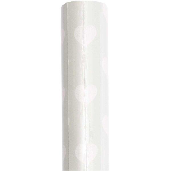 Paper Poetry Geschenkpapier Herzen mint-weiß 70cm 2m