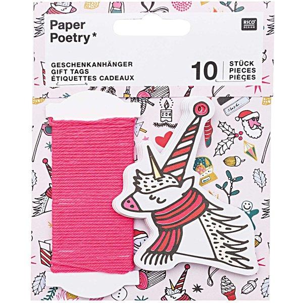 Paper Poetry Geschenkanhänger Einhorn X-MAS 10 Stück