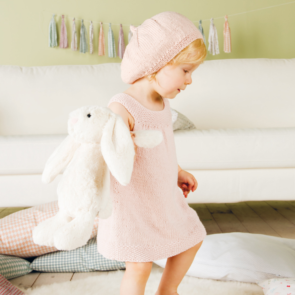 kostenlose strickanleitung rico baby 19 - kleid mit mütze