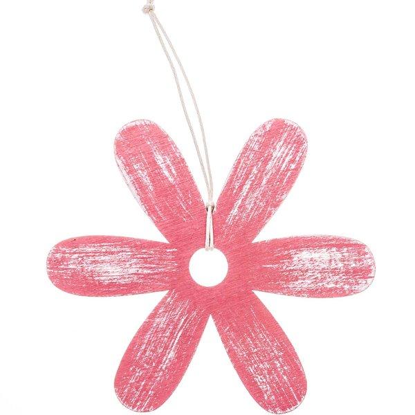 Blume zum Hängen pink 16cm Holz