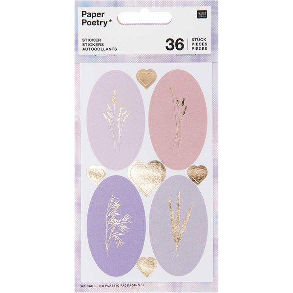 Paper Poetry Sticker Gräser pastell 4 Blatt