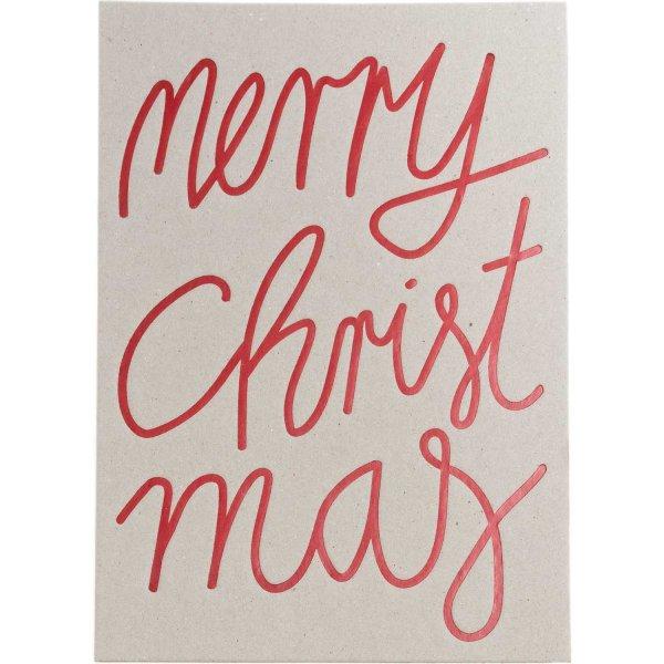Postkarte Merry Christmas Graukarton rot B6
