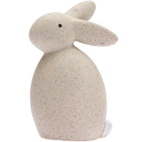 Hase aus Keramik sitzend grau 10,5cm