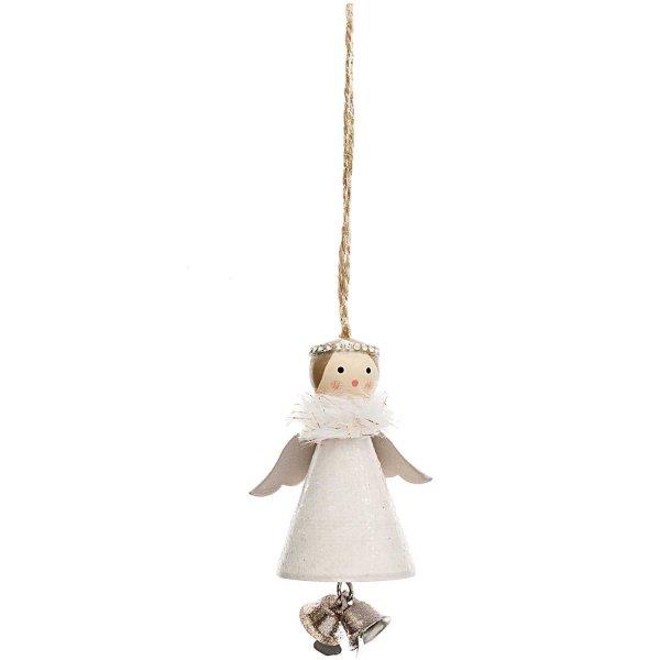Ohhh! Lovely! Holzhänger Engel mit Glöckchen weiß 8cm