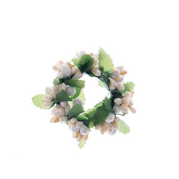 Kranz mit Blättern weiß 6cm