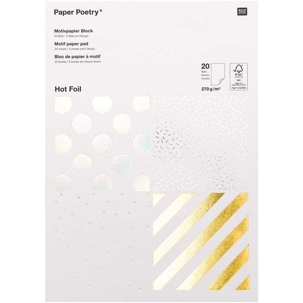 Paper Poetry Motivpapier Block Streifen 270g/m² 20 Blatt Hot Foil