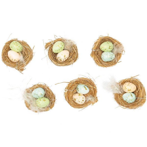 Ohhh! Lovely! Osternest mit Eiern hell 6cm 6 Stück