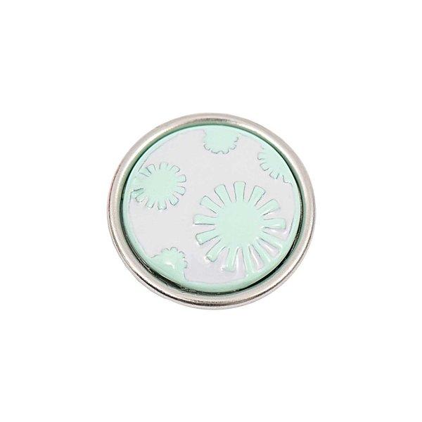 Rico Design Knopf Blumen türkis-weiß 14mm