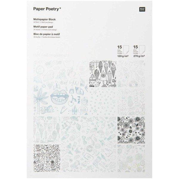 Paper Poetry Motivpapier Block schwarz-weiß 21x30cm 30 Blatt Hot Foil