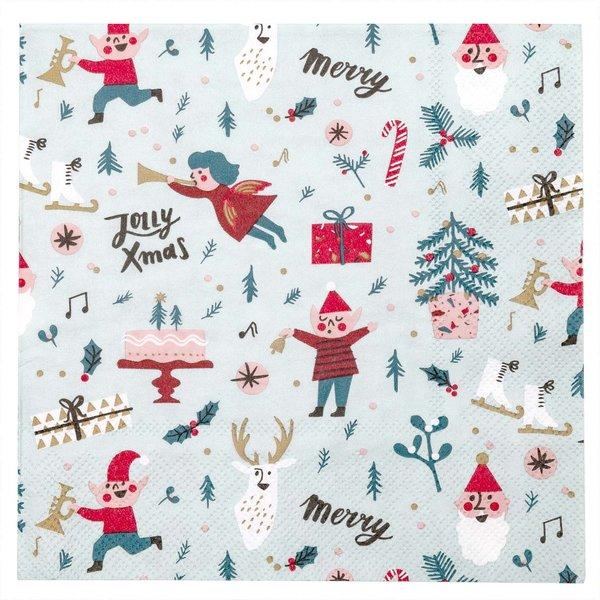 YEY! Let's Party Servietten Jolly Weihnachten rot 33x33cm 20 Stück