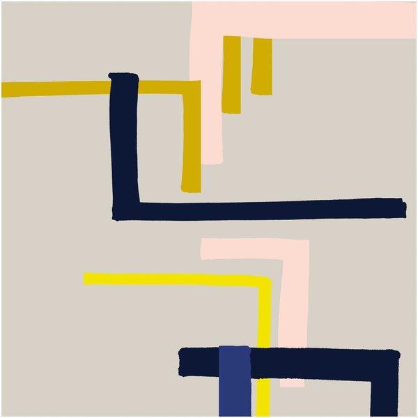 Rico Design Druckstoff Okina Hana grafisches Muster klein grau-neon 50x140cm