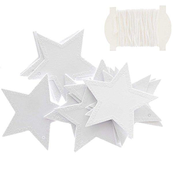 Paper Poetry Papieranhänger Stern weiß-glitter 6,5x6,5cm 24 Stück