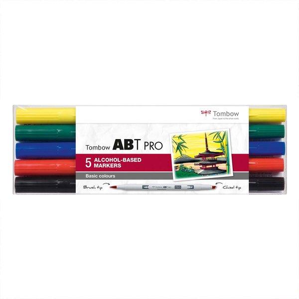 Tombow ABT PRO Basic Colours Alkoholbasierte Marker 5teilig