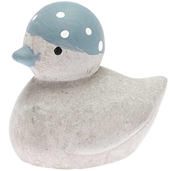 Ente mit Badekappe Gips grau-blau 6x5cm