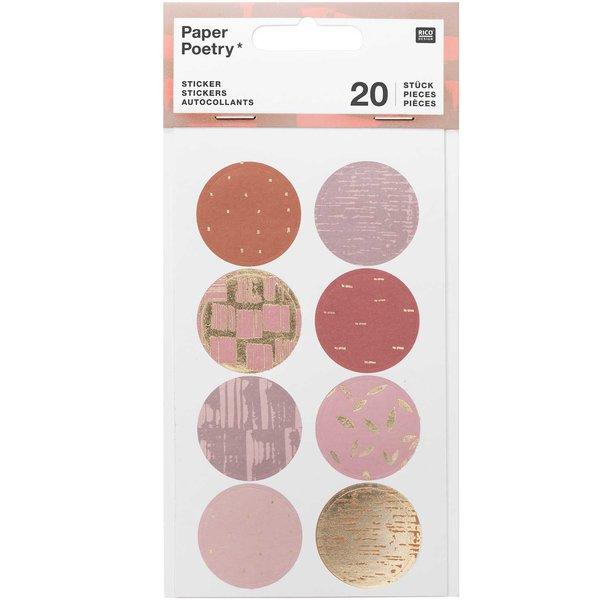 Paper Poetry Sticker Struktur mauve 4 Blatt