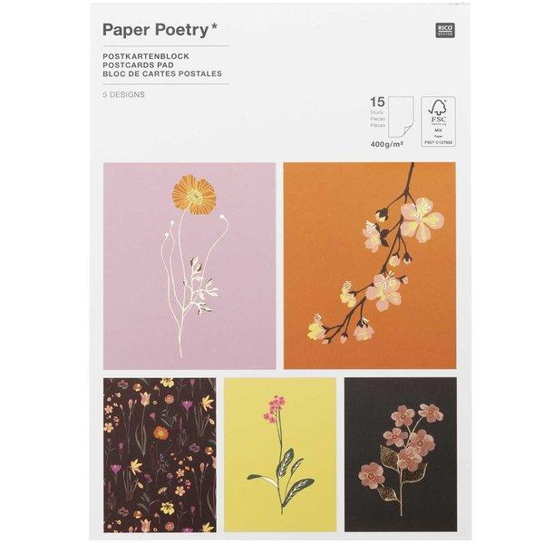 Paper Poetry Postkartenblock Blumen 15 Stück
