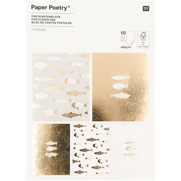 Paper Poetry Postkartenblock Fische 10 Stück