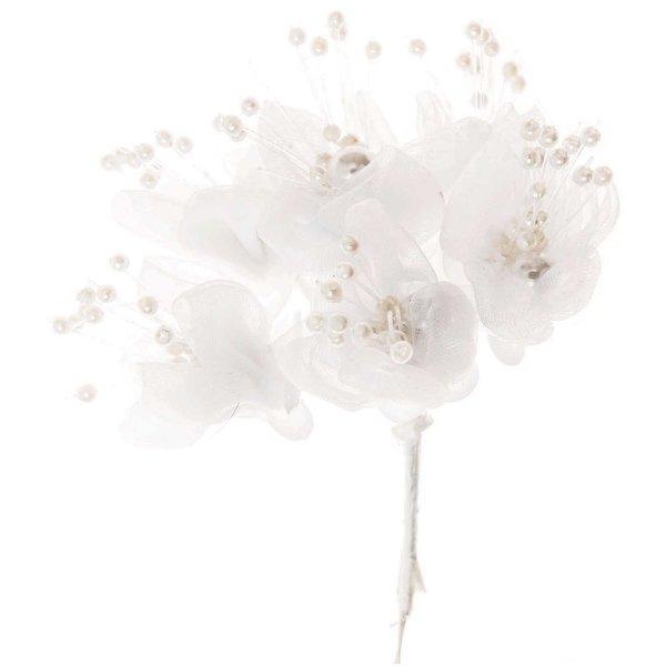 Blüten mit Perlen Organza weiß 6 Stück