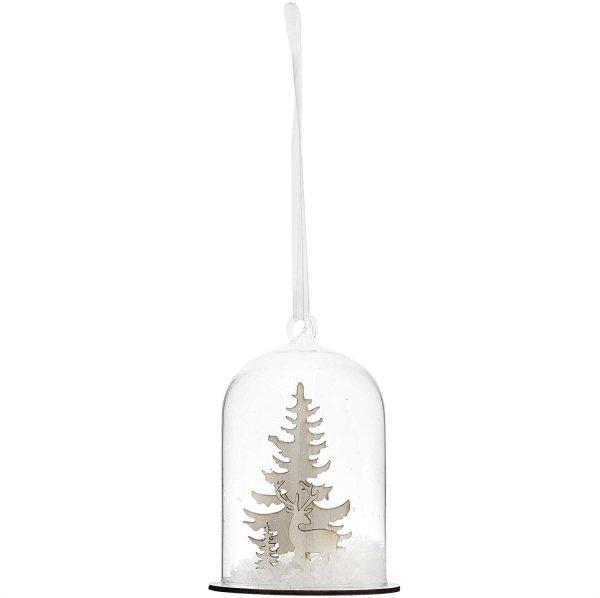 Ohhh! Lovely! Hänger Glashaube Winterlandschaft mit Rentier 8x8x11cm