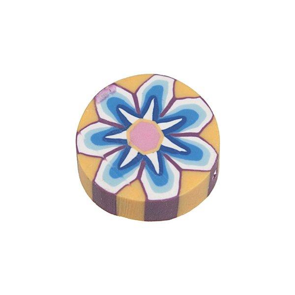 Jewellery Made by Me Perle rund Blumen blau 16x5mm 4 Stück