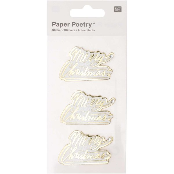 Paper Poetry 3D-Sticker Merry Christmas 3 Stück