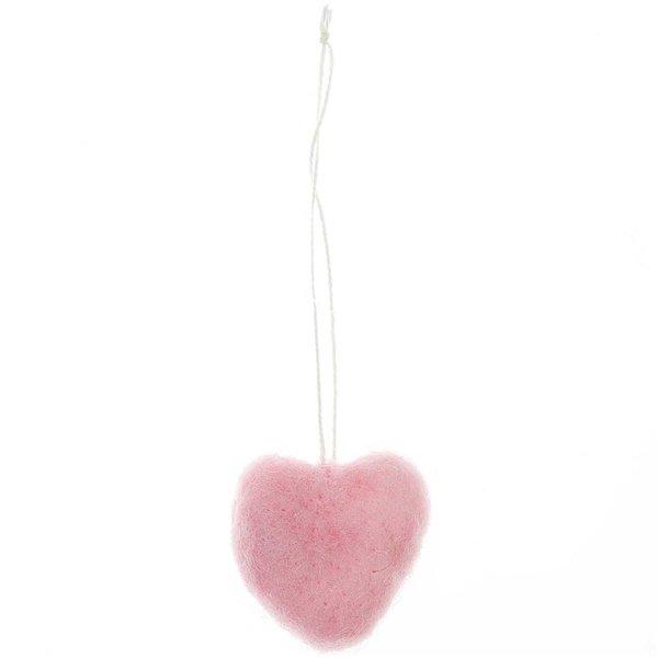 Hänger Herz aus Filz rosa 3,5x3,5cm