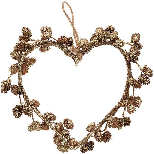 Kranz Herz mit Zapfen natur-gold 30x26cm
