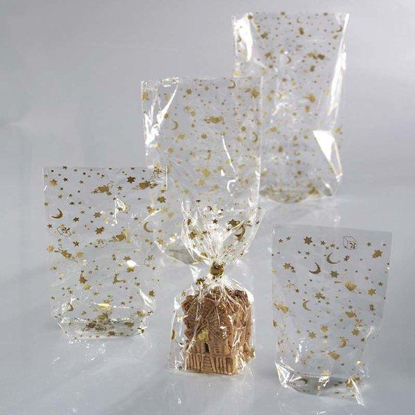 folia Zellglasbeutel mit Weihnachtsdruck gold 10 Stück