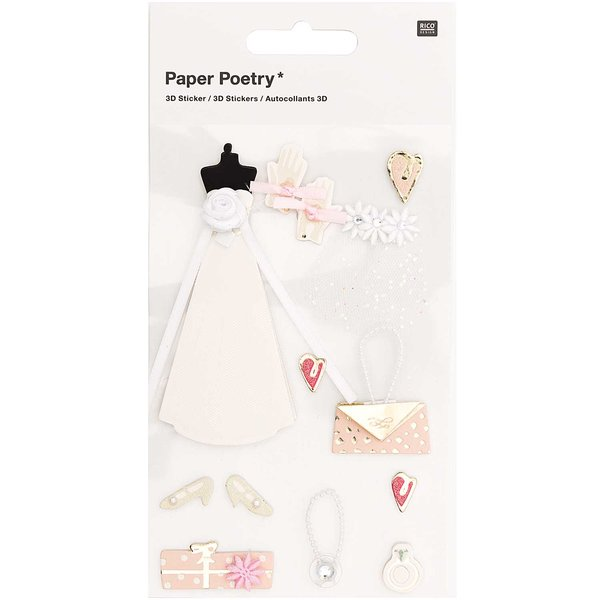 Paper Poetry 3D-Sticker Braut