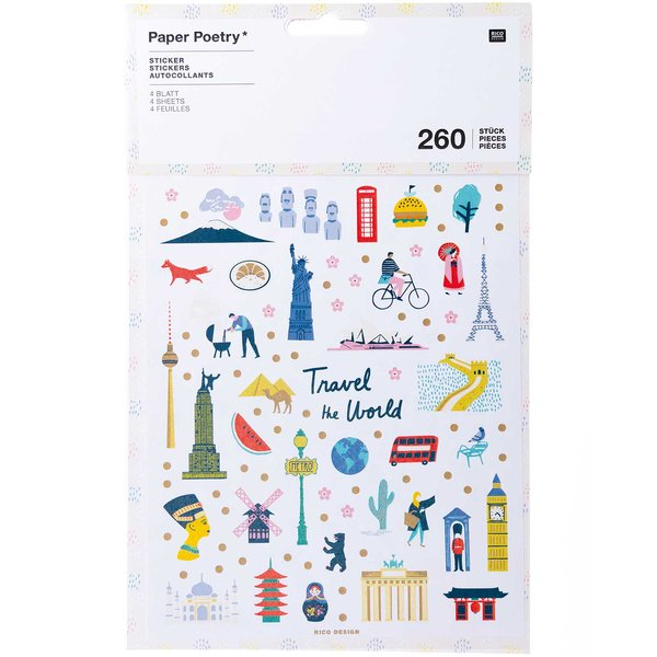 Paper Poetry Sticker Travel the World 260 Stück
