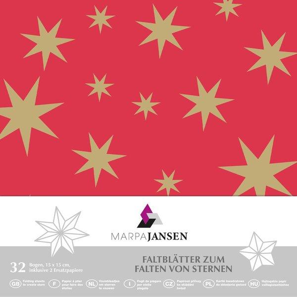 MARPA JANSEN Faltblätter rot Sterne gold 15x15cm 32 Stück