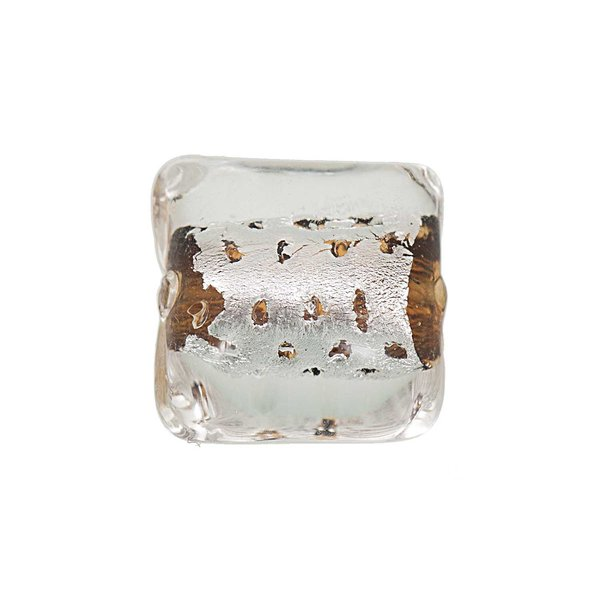 Jewellery Made by Me Kissen braun-silber 17x11mm Glas 3 Stück