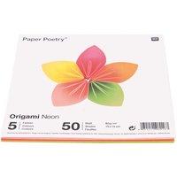 Paper Poetry Origami neon 15x15cm 50 Blatt 5 Farben