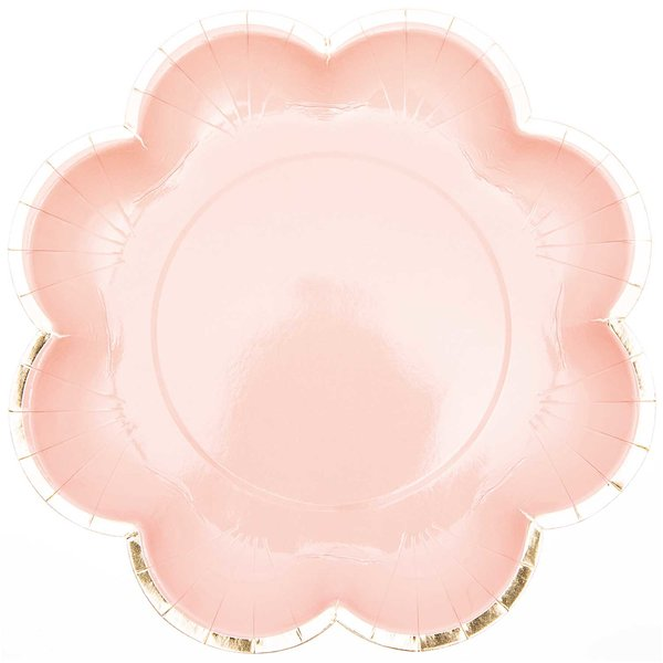 YEY! Let's Party Pappteller Blume rosa-gold 25cm 12 Stück