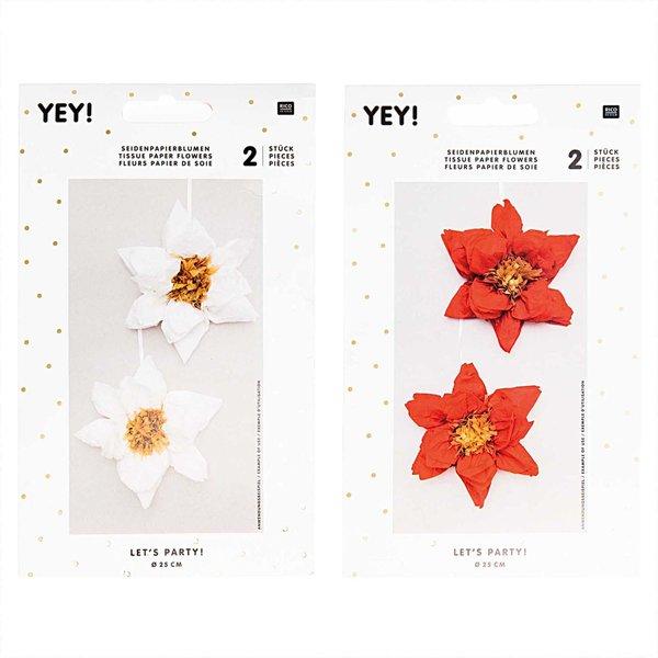 YEY! Let's Party Seidenpapierblumen Weihnachtsstern 25cm 2 Stück