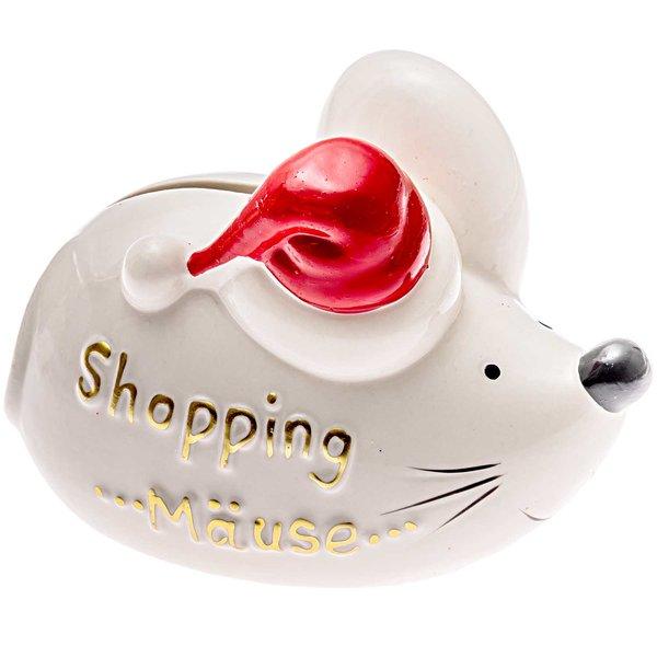 Sparmaus Shopping Mäuse weiß-rot 11x8cm