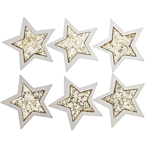 Sterne zum Kleben weiß-gold-glitter 5cm 6 Stück