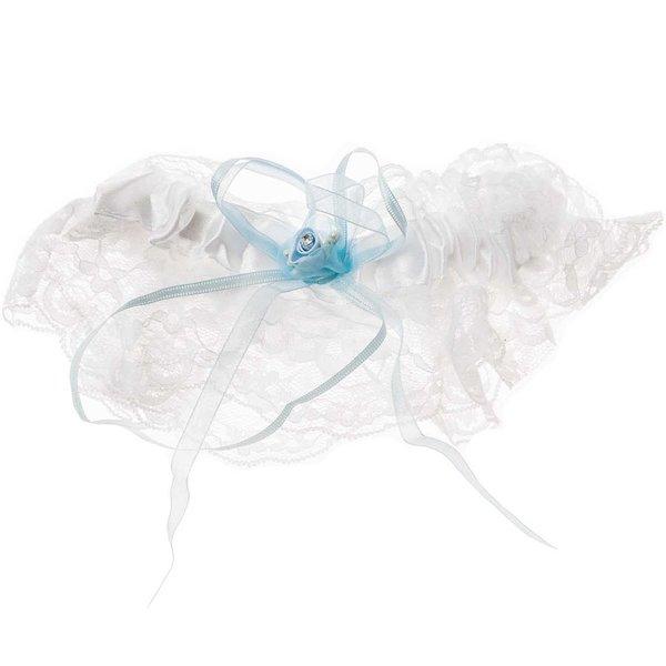 Strumpfband mit Spitze weiß-hellblau